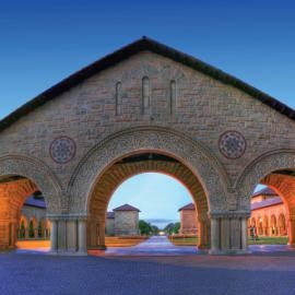 Stock photo of an archway in Stanford's main quad.