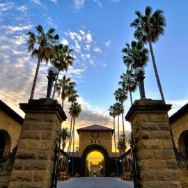 Image of Stanford main quad gate and palm trees